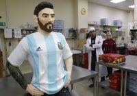 Moscow confectioners build life-size chocolate Messi for his birthday