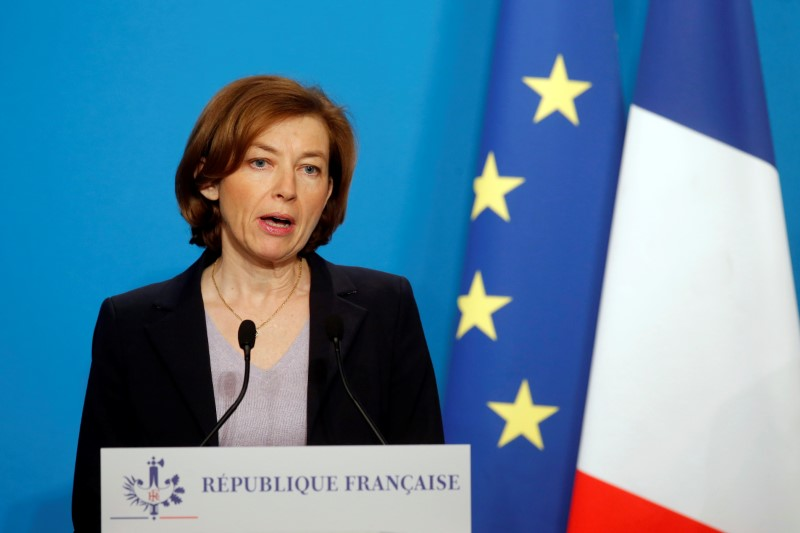 French Minister of the Armed Forces Florence Parly makes an official statement in the press room at the Elysee Palace in Paris