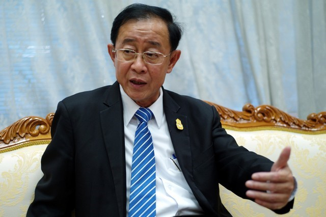 Thailand Transport Minister Arkhom Termpittayapaisith speaks during an interview with Reuters in Bangkok