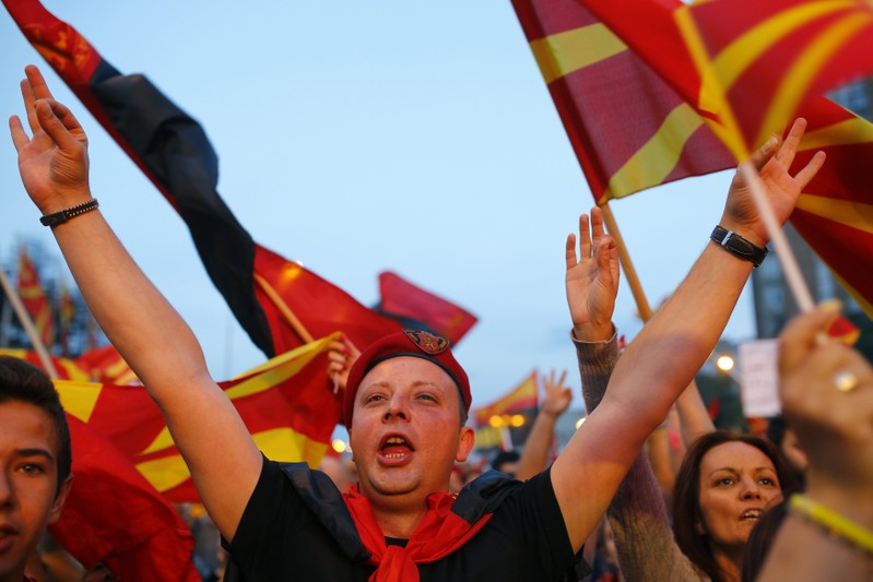 Supporters of opposition party VMRO-DPMNE take part in a protest over compromise solution in Macedonia's dispute with Greece over the country's name in Skopje