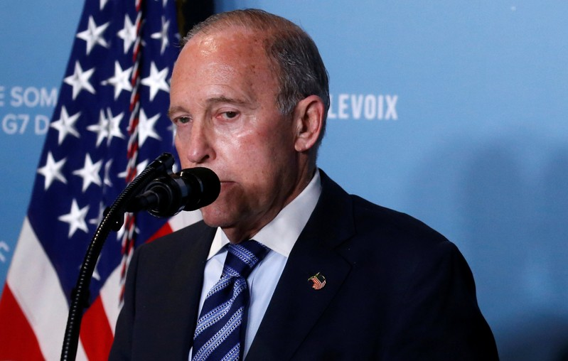 FILE PHOTO: Larry Kudlow gives remarks during a a press briefing with U.S. President Donald Trump at the G-7 summit in the Charlevoix city of La Malbaie