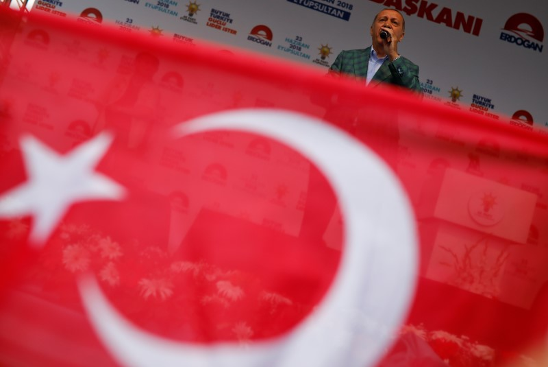 Turkish President Tayyip Erdogan addresses his supporters during an election rally in Istanbul