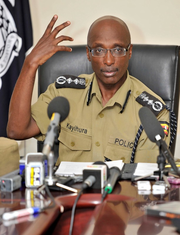 FILE PHOTO: Uganda's Inspector General of Police Kayihura gestures during a presentation to the media in Kampala