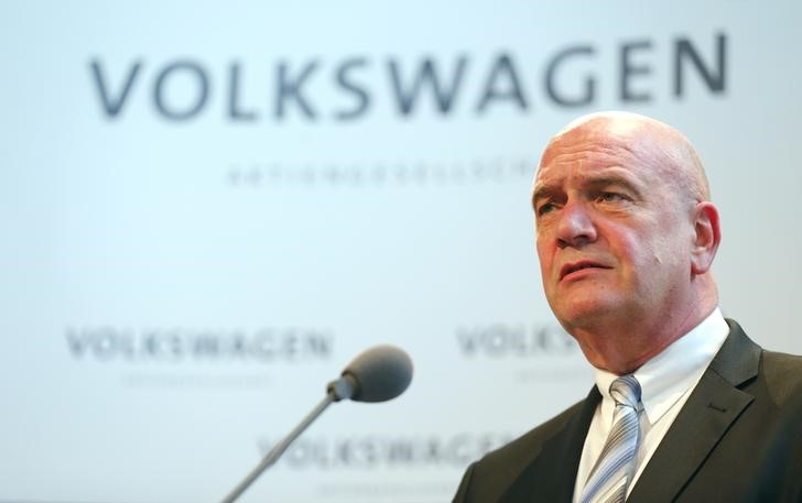 Osterloh head of Volkwagen's works council addresses news conference at company's headquarters in Wolfburg