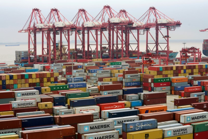 FILE PHOTO: Containers are seen at the Yangshan Deep Water Port in Shanghai