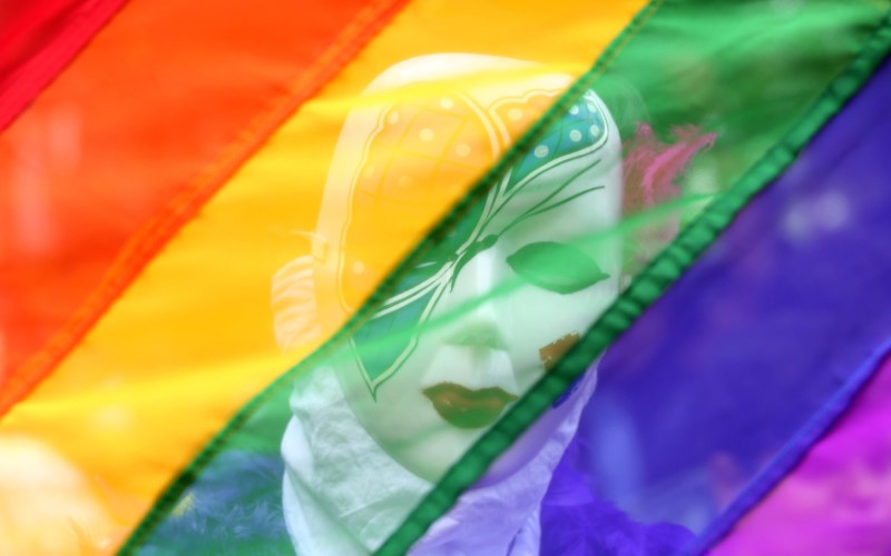 FILE PHOTO: A participant stands behind a rainbow flag during a gay pride parade promoting lesbian, gay, bisexual and transgender rights, in Chennai