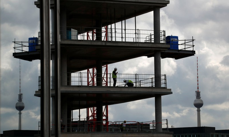 A construction site is pictured near the Hauptbahnhof main train station in Berlin
