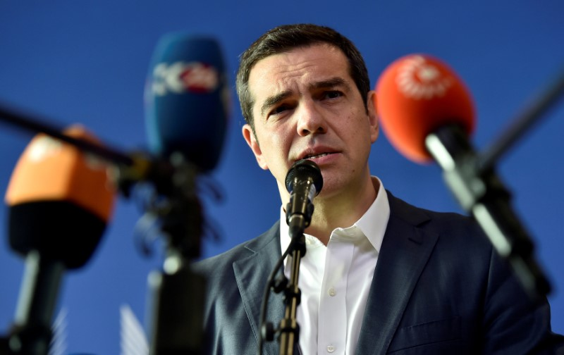 Greek PM Tsipras talks to the press after an emergency EU leaders summit on immigration aat the EC in Brussels