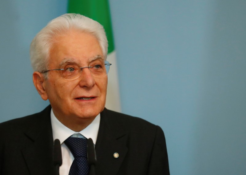Italian President Sergio Mattarella speaks during the news conference in Riga
