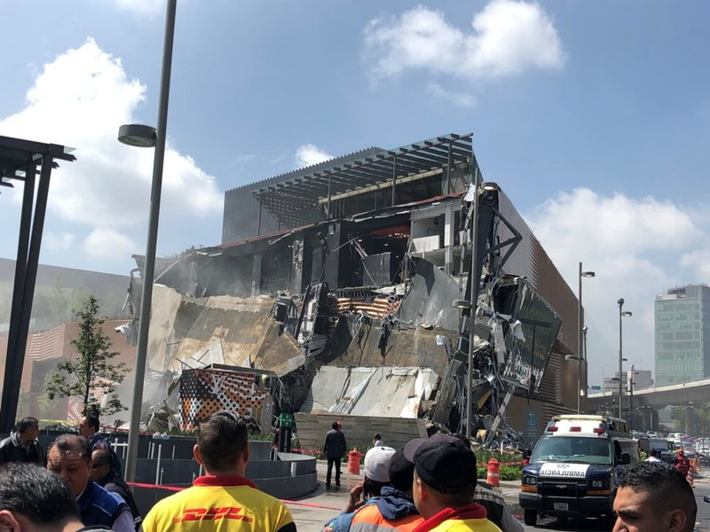 A collapsed shopping center in Mexico City