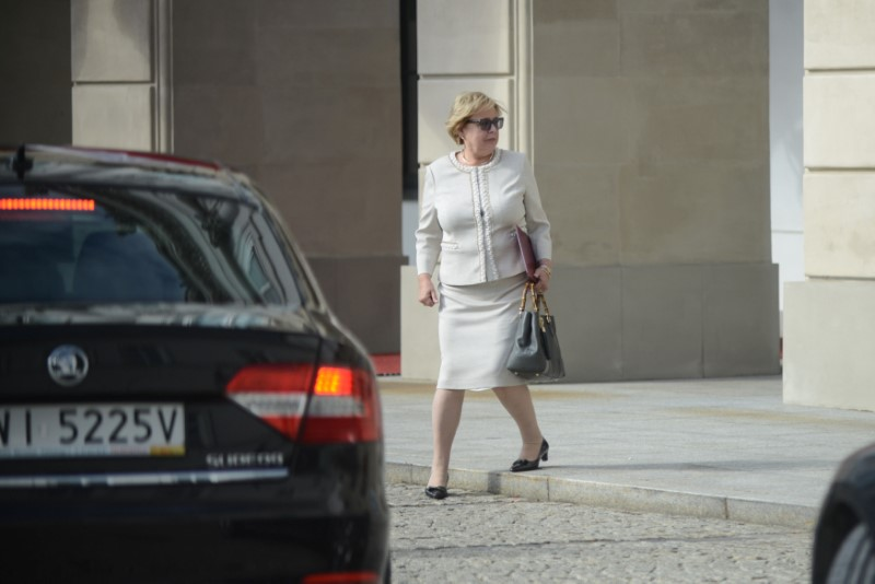 Polish Supreme Court Chief Malgorzata Gersdorf leaves the Presidential Palace after a meeting with Polish President Andrzej Duda in Warsaw