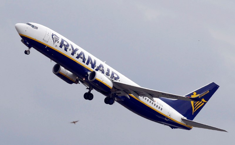 FILE PHOTO: Ryanair Boeing 737 passenger jet takes off in Colomiers near Toulouse