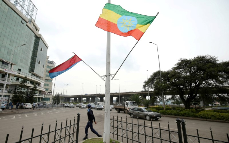 FILE PHOTO: A police officer walks past the flags of Ethiopia and Eritrea ahead of Eritrea's President Isaias Afwerki's visit to Addis Ababa