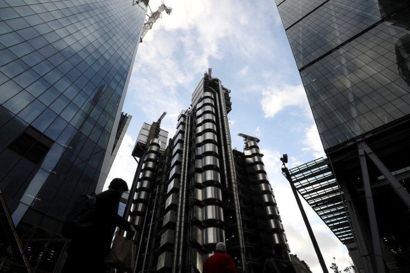 FILE PHOTO: The Lloyd's of London building is lit by winter sun in the City of London financial district in London
