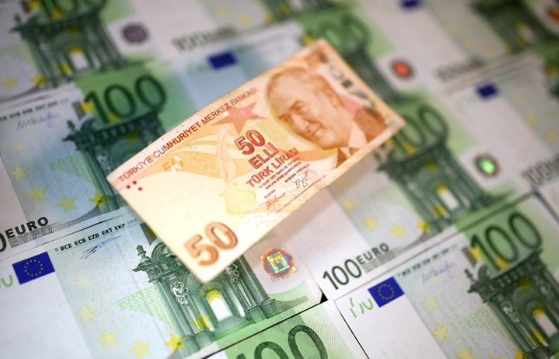 Turkish Lira and Euro banknotes are seen in this picture illustration