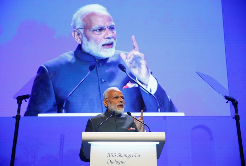 India's Prime Minister Narendra Modi delivers the keynote address at the IISS Shangri-la Dialogue in Singapore