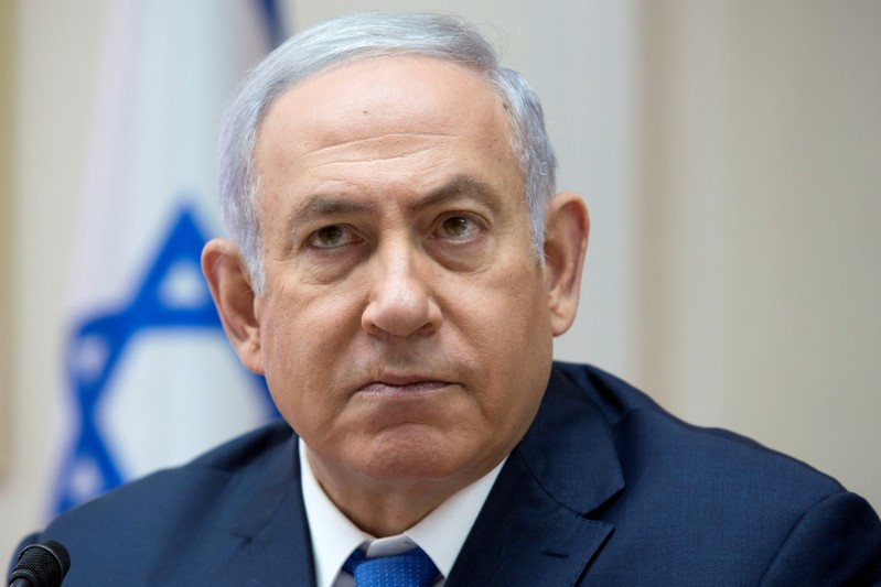 Israeli Prime Minister Benjamin Netanyahu attends the weekly cabinet meeting at the Prime Minister's office in Jerusalem
