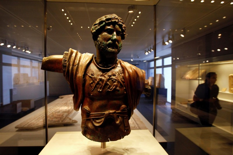 FILE PHOTO: A statue of the Emperor Hadrian is displayed at the Israel Museum in Jerusalem