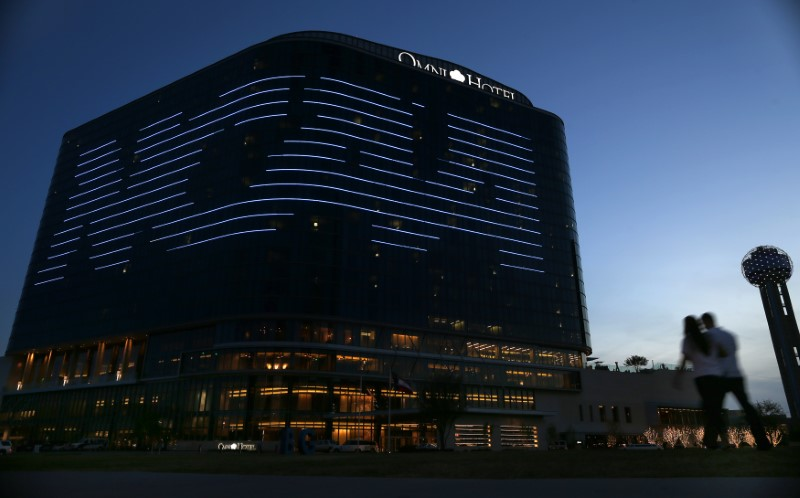 FILE PHOTO: The NCAA logo is seen on the side of a hotel in Dallas, Texas