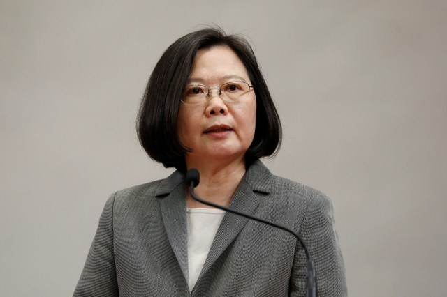 Taiwanese President Tsai Ing-wen attends a news conference to announce the new Presidential Office secretary-general in Taipei