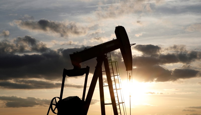 FILE PHOTO: An oil pump is seen at sunset outside Vaudoy-en-Brie