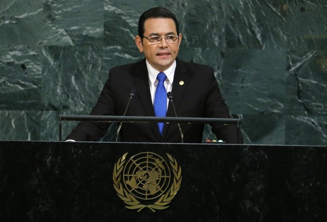 Guatemalan President Morales addresses the 72nd United Nations General Assembly at U.N. Headquarters in New York