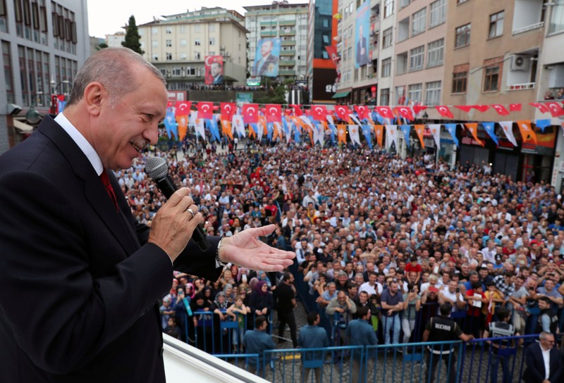 Turkish President Erdogan addresses his supporters in Rize