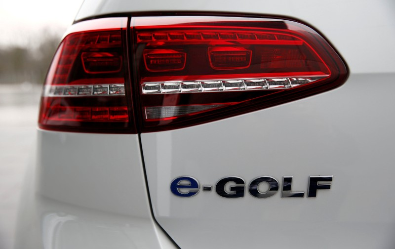 FILE PHOTO: Backlight of a VW e-Golf electric car is pictured at the Transparent Factory in Dresden