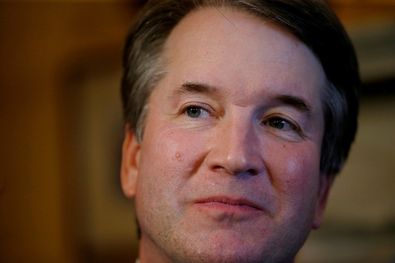 FILE PHOTO: Supreme Court Justice nominee Kavanaugh seen at his office in the Russell Senate Office Building in Washington