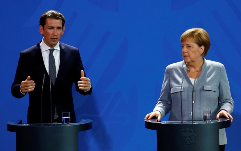 German Chancellor Angela Merkel and Austrian Chancellor Sebastian Kurz give a statment to the media in the chancellery in Berlin
