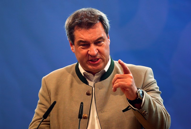 FILE PHOTO - Bavarian State Prime Minister Markus Soeder of the Christian Social Union (CSU) gives a speech during an election rally at one of Bavaria's oldest fairs, the Gillamoos Fair in Abensberg