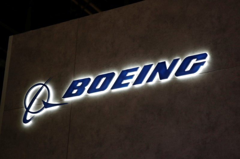 A Boeing logo is pictured during EBACE in Geneva