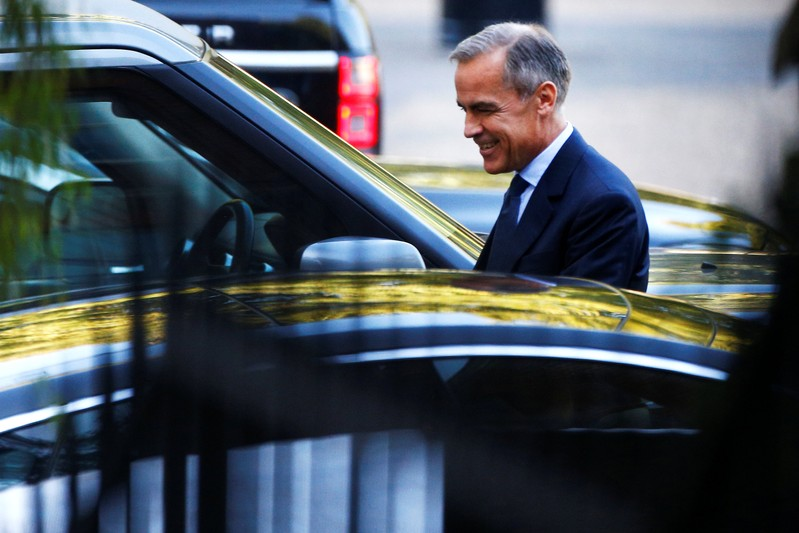 Mark Carney, Governor of Bank of England leaves Downing Street in London