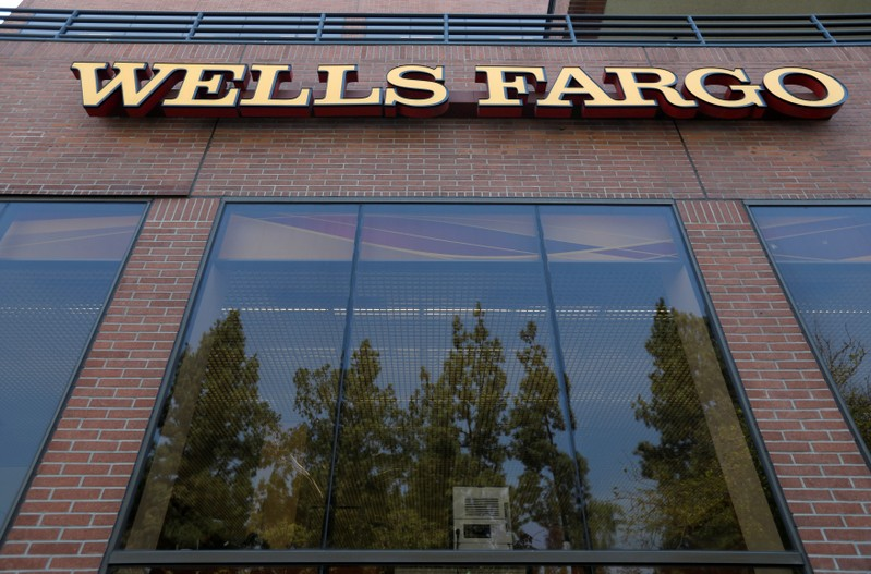FILE PHOTO: The sign at a Wells Fargo banking location is pictured in Pasadena