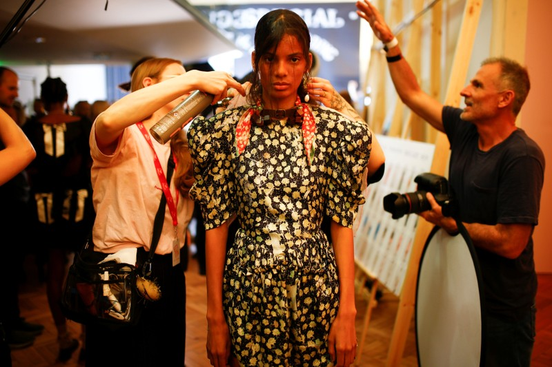 Models prepare backstage of the Preen by Thornton Bregazzi catwalk show at London Fashion Week Women's in London