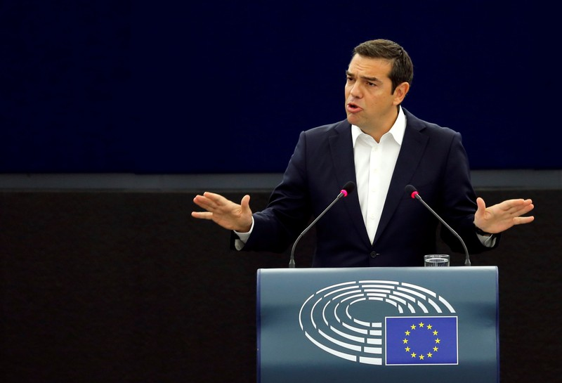 Greek Prime Minister Alexis Tsipras delivers a speech during a debate on the Future of Europe at the European Parliament in Strasbourg