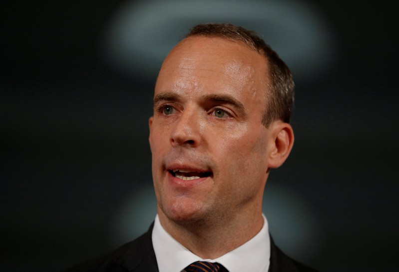 FILE PHOTO: Britain's Secretary of State for Exiting the European Union, Dominic Raab gestures during his speech outlining the government's plans for a no-deal Brexit in London