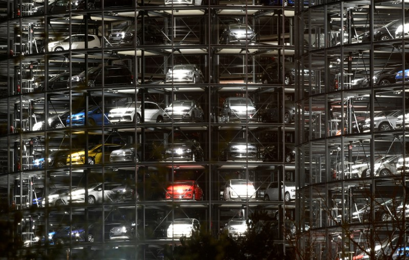 FILE PHOTO: Volkswagen cars are seen in a delivery tower at the Volkswagen plant in Wolfsburg