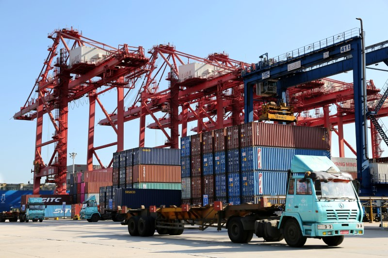 FILE PHOTO - Shipping containers are seen at a port in Lianyungang