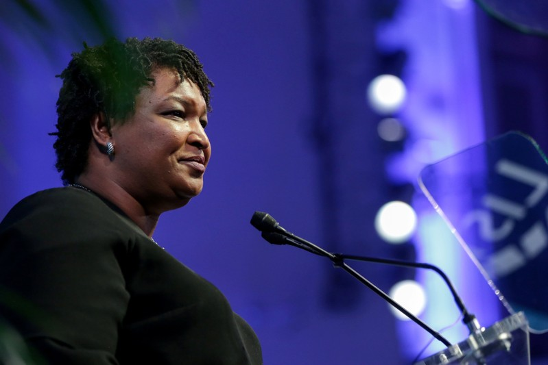 FILE PHOTO: Abrams, Candidate for Governor in the state of Georgia, delivers a speech during a fundraiser in Manhattan