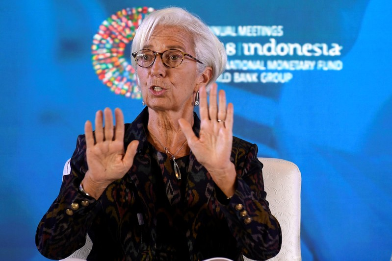 International Monetary Fund (IMF) Managing Director Christine Lagarde gestures as she talks about Women's Empowerment in Workplace at the 2018 International Monetary Fund (IMF) World Bank Group Annual Meeting at Nusa Dua in Bali