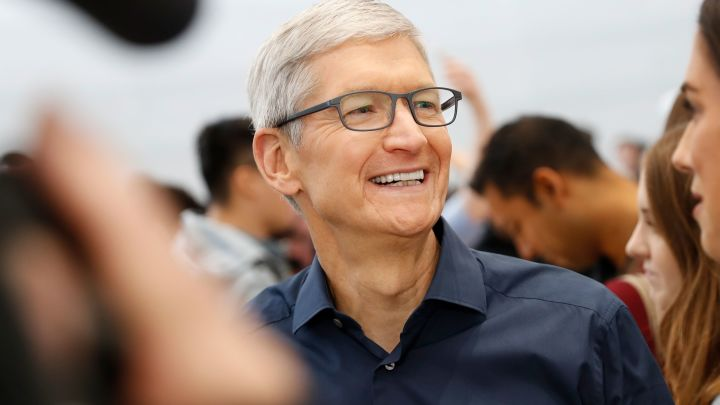 Tim Cook, CEO of Apple, smiles during a demonstration of the newly released Apple products following the launch event at the Steve Jobs Theater in Cupertino, California, September 12, 2018.