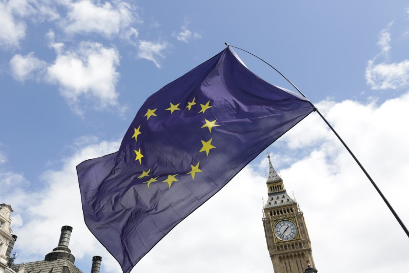 FILE PHOTO: A European Union flag is held in front of the Big Ben clock tower in Parliament Square during a 'March for Europe' demonstration against Britain's decision to leave the European Union, central London