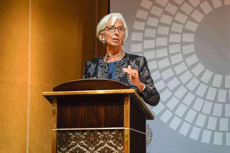 IMF Managing Director Christine Lagarde talks during a trade conference at the 2018 International Monetary Fund (IMF) World Bank Group Annual Meeting at Nusa Dua in Bali Province