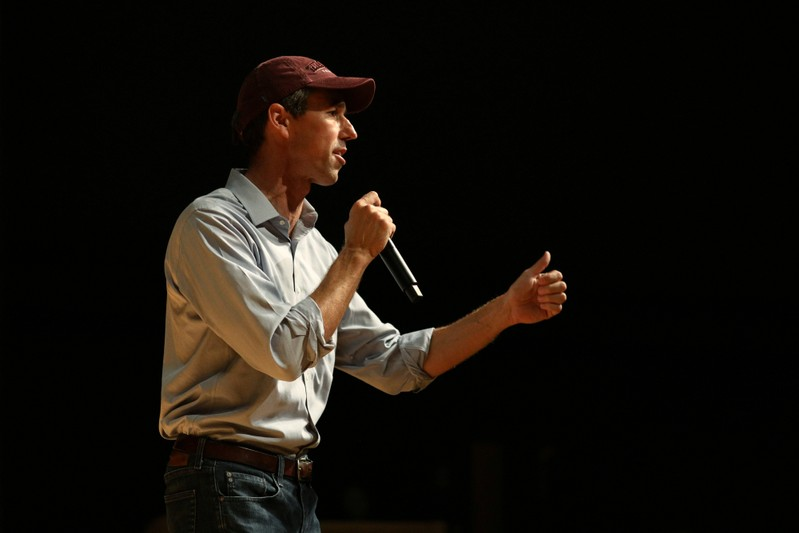 FILE PHOTO: U.S. Rep. Beto O'Rourke addresses supporters during a campaign rally at Texas Southern University in Houston