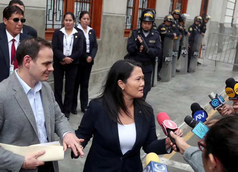 Keiko Fujimori leaves the court after a hearing as part of an investigation into money laundering, in Lima