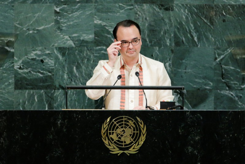 FILE PHOTO: Philippine Foreign Affairs Secretary Cayetano addresses the 72nd United Nations General Assembly at U.N. headquarters in New York