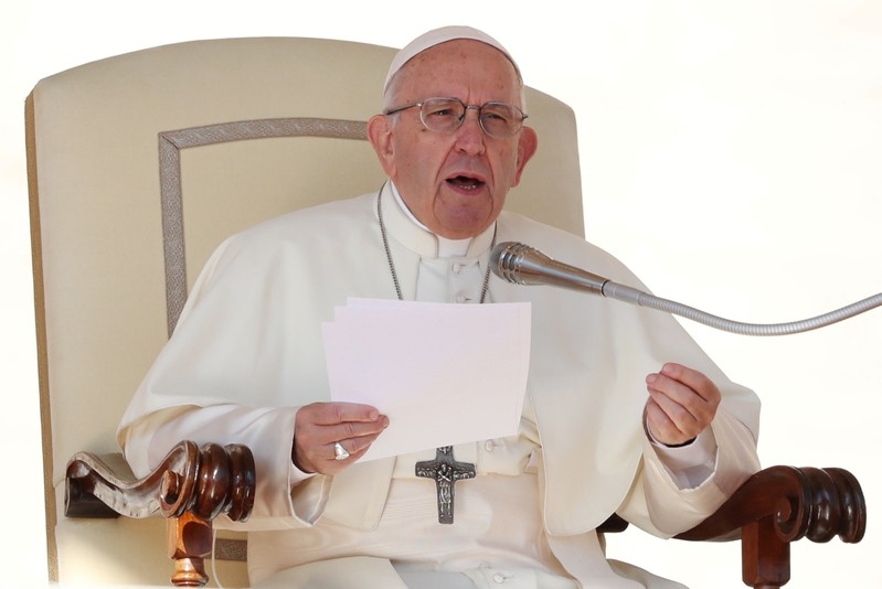 FILE PHOTO: Pope Francis speaks during the Wednesday general audience in Saint Peter's square at the Vatican