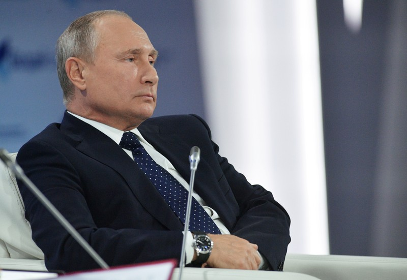 Russian President Putin attends a session of the Valdai Discussion Club in Sochi