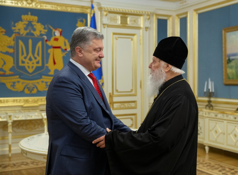 Ukraine's President Poroshenko meets with Patriarch Filaret, head of the Ukrainian Orthodox Church of the Kiev Patriarchate, in Kiev